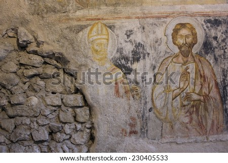 Amalfi, Italy, August 11 2014: Fresco scenes of the Passion of Christ in the Crypt of Amalfi Duomo central Basilica - stock photo