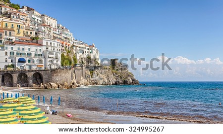 Amalfi - seaside town at the Gulf of Salerno in the Italian province of Salerno. Italy. Amalfi Coast - UNESCO World Heritage site and popular tourist center. - stock photo