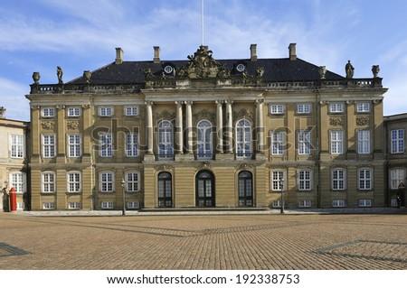 Amalienborg - The Queen's residence. Square located in Copenhagen, Denmark  - stock photo
