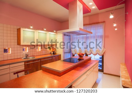 Amaranth house - Kitchen countertop with a cooker - stock photo