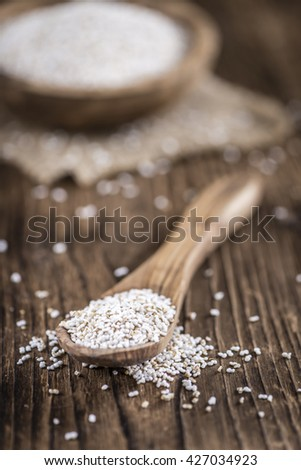 Amaranth (puffed) as detailed close-up shot (selective focus) - stock photo
