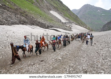AMARNATH, JAMMU AND KASHMIR, INDIA - JULY 18, 2006: Pilgrimage to the holy Amarnath cave in Kashmir Himalayas - stock photo
