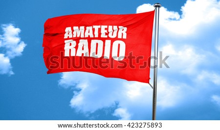 amateur radio, 3D rendering, a red waving flag - stock photo