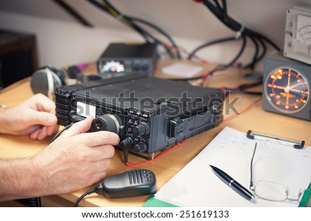 Amateur radio station: closeup of an a radio transciever - stock photo