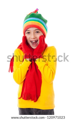 Amazed girl in winter clothes, isolated on white - stock photo