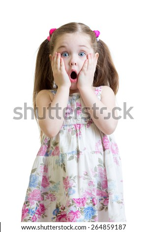 Amazed kid girl closeup portrait isolated on white - stock photo