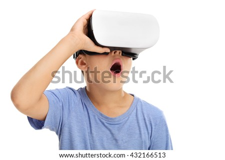 Amazed little boy experiencing virtual reality isolated on white background - stock photo