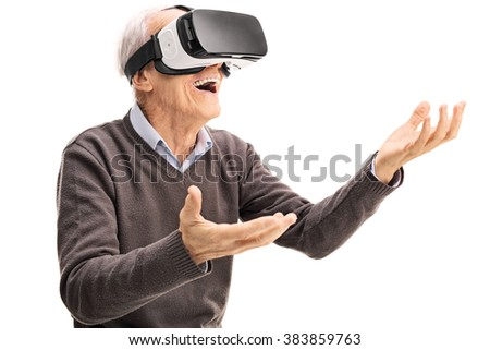 Amazed senior gentleman using a VR headset and gesturing with his hands isolated on white background - stock photo