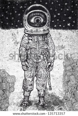 amazement astronaut. raster version. vector available in my portfolio - stock photo