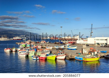 Amazing Azores, Sao Miguel island fishing harbor - stock photo