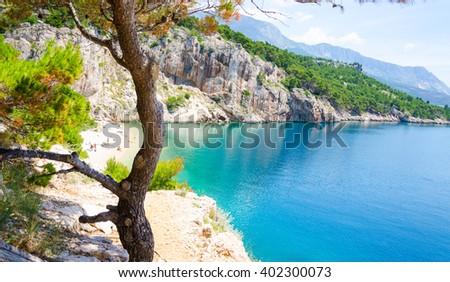 amazing beach in Makarska Riviera in Dalmatia, Croatia - stock photo
