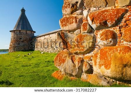 Amazing beautiful landscape day. Old historical orthodox unique dome church monastery. Island Solovki. North country Russia. UNESCO world heritage.  - stock photo