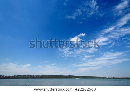 amazing beautiful landscape of blue sky and water, travel peaceful moment - stock photo