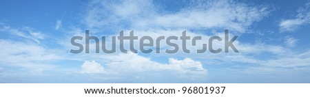 Amazing blue cloudy sky background. Panoramic composition in high resolution. - stock photo
