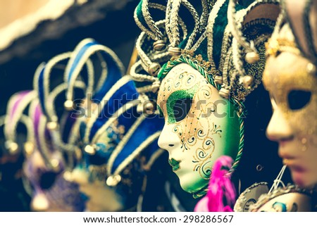 amazing carnival masks for traditional Venetian carnival fest - stock photo
