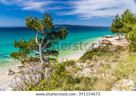 Amazing Coastline Of Makarska Riviera During Clear Summer Day - Makarska, Dalmatia, Croatia - stock photo