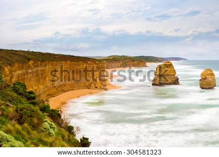 Amazing color and shape of rocks at The Great Ocean Road - stock photo
