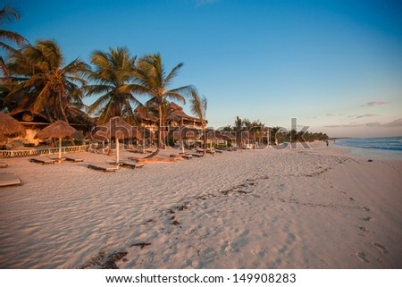 Amazing colorful sunset on the beach resort  in Mexico - stock photo