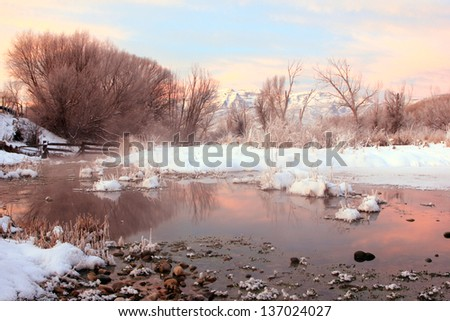 Amazing dawn landscape in rural Utah, USA. - stock photo
