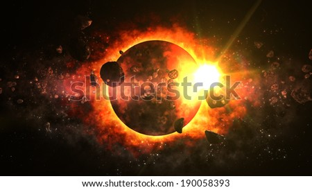 Amazing Dead Planet - stock photo