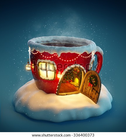 Amazing fairy house decorated at christmas in shape of tea cup with opened door and fireplace inside. Unusual christmas illustration.  - stock photo