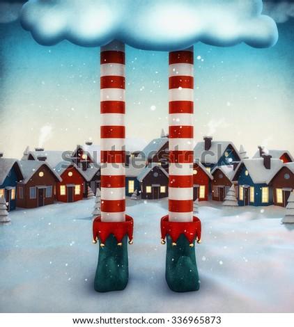 Amazing fairy illustration with elf and cartoon houses. Unusual christmas illustration.  - stock photo
