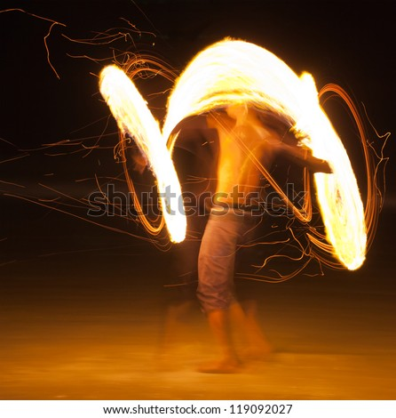 Amazing Fire Show at night on samet Island, Thailand - stock photo