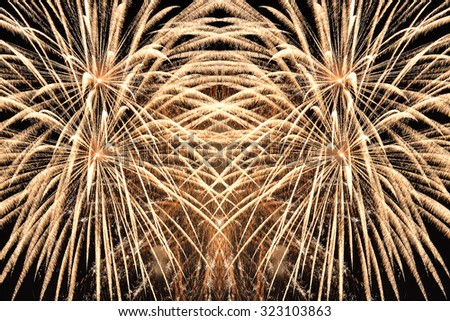 amazing fireworks in the sky in the night - stock photo