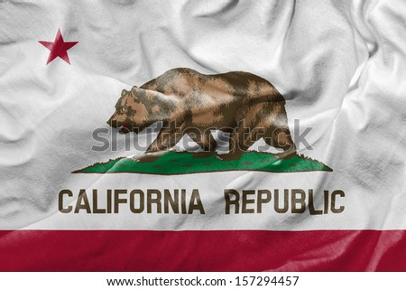 Amazing Flag of the State of California USA - stock photo
