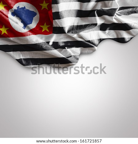 Amazing Flag of the State of Sao Paulo, Brazil - South America - stock photo