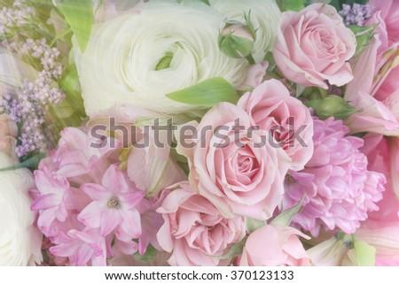 Amazing flower bouquet arrangement close up in pastel colors - stock photo