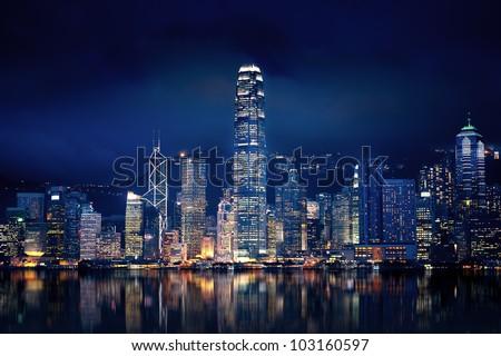 Amazing Hong Kong city lit up at night - stock photo