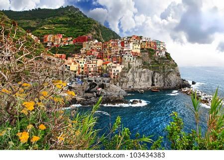amazing Italy series - pictorial Monarola village, Cinque terre - stock photo