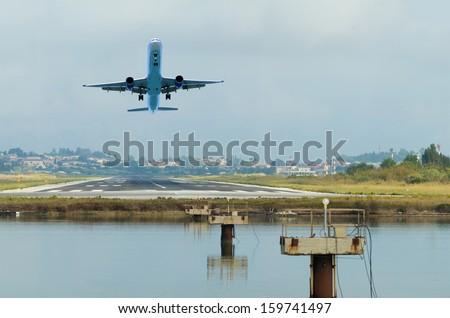 Amazing landing at Kerkyra Airport, corfu Greece - stock photo