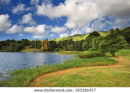 Amazing landscape at Seven Cities Lagoon on the island of Sao Miguel. This pond is formed in an ancient volcano in the Azores - stock photo