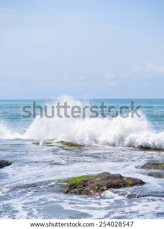 Amazing landscape at the Tanah Lot temple in Bali Indonesia - stock photo