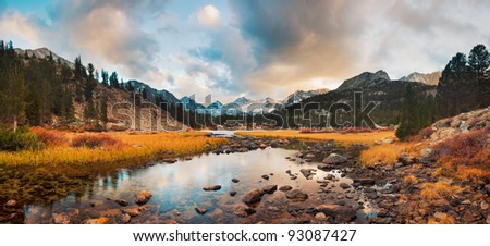 Amazing Landscape, Beautiful Mountain Sunset Panorama - stock photo