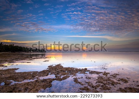 Amazing landscape view from a beach of south Sumatra   - stock photo