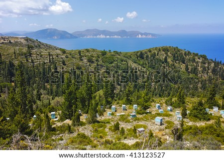 Amazing Landscape with Beehives, Kefalonia, Ionian islands, Greece - stock photo