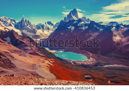 Amazing landscape with Fitz Roy and Cerro Torre mountains. Los Glaciares National park. Argentina. - stock photo