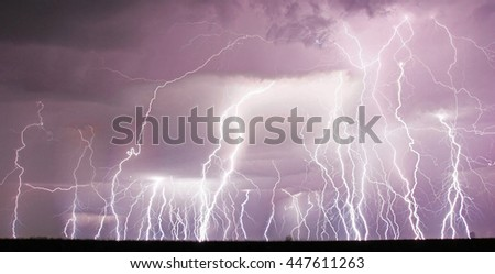 Amazing lightning sky - stock photo