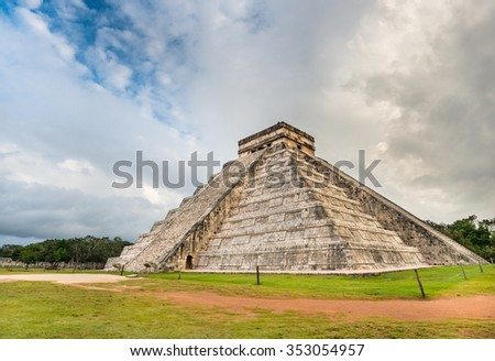 Amazing mayan Chichen Itza pyramid in Mexico with beautiful sky - stock photo