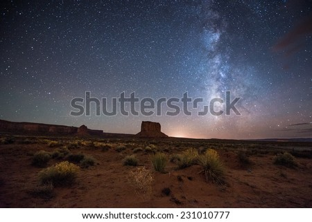 Amazing Milky way over Monument Valley. - stock photo