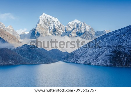 Amazing Morning in Himalayas. View from Gokyo Ri, 5360 meters up in the Himalaya Mountains of Nepal  - stock photo