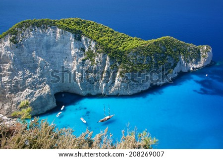 Amazing Navagio Beach in Zakynthos Island, Greece - stock photo