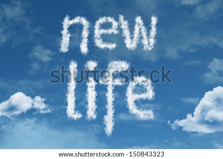 Amazing New Life text on clouds - stock photo