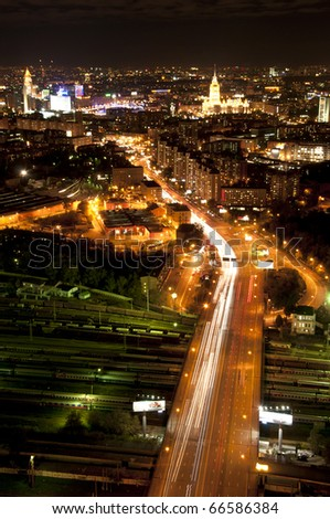 Amazing night city view, Moscow, Russia - stock photo