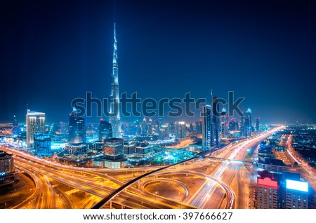 Amazing night dubai downtown skyline, Dubai, United Arab Emirates - stock photo