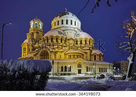 Amazing Night photo of Alexander Nevsky Cathedral, Sofia, Bulgaria - stock photo