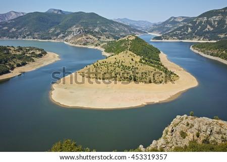 Amazing Panorama of Arda River meander and Kardzhali Reservoir, Bulgaria - stock photo